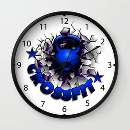 Blue kettlebell breaking the wall.Crossfit. Wall Clock