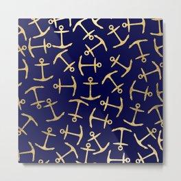 Elegant navy blue faux gold glitter anchor pattern Metal Print