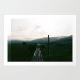 Foggy Sunset on Film Art Print