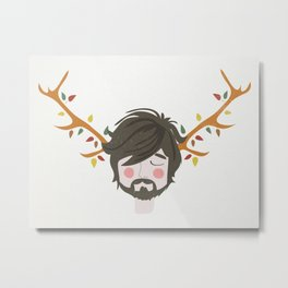 The Man With The Antlers Metal Print
