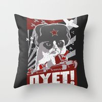 soviet Throw Pillows featuring grumpy soviet by tshirtsz