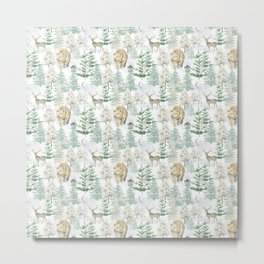 Woodland Animals in Winter Forest Metal Print