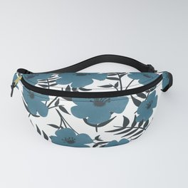 Blue Flowers with Banana Leaves Fanny Pack