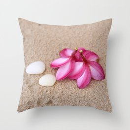 Flowers and Cockleshells on Sand Throw Pillow