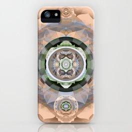 Muted Peach Boho Embroidery Sacred Geometry Mandala iPhone Case