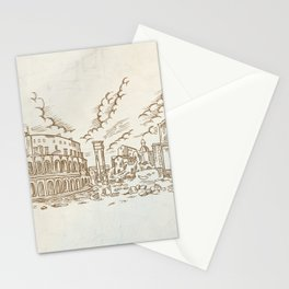 panoramic view on the ancient Theatre of Marcellus( Teatro di Marcello ), vector illustration hand d Stationery Cards