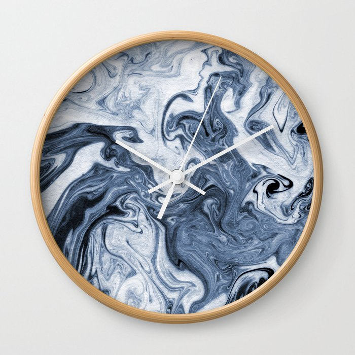 Isao spilled ink art print marble blue indigo india ink original