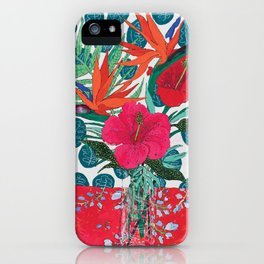 Tropical Bouquet in Living Coral and Emerald Green iPhone Case