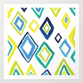Watercolour Diamond Pattern Art Print