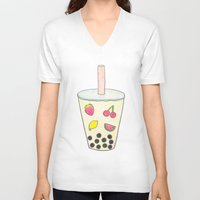 boba V-neck T-shirts featuring Boba by Anastasia Flowers