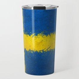 Sweden Flag Grunge Travel Mug
