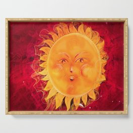Digital painting of a chubby sun with a funny face Serving Tray
