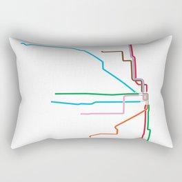 Chicago CTA Map, Chicago Train Map Art, Chicago L Train Map, Chicago Art, Chicago Wall Art, Map Art Rectangular Pillow