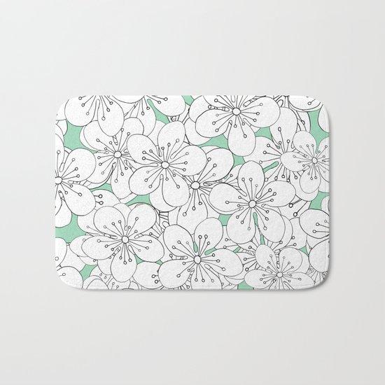 Cherry Blossom With Mint Blocks - In Memory of Mackenzie Bath Mat