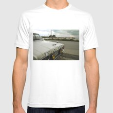 Travel Away on a Rainy Day MEDIUM White Mens Fitted Tee