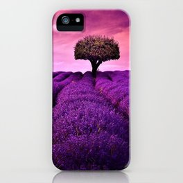 Pink Sunset in Fields of Lavender portrait iPhone Case