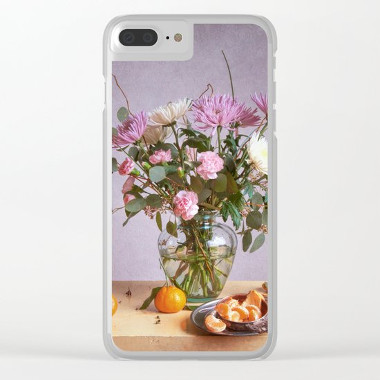 Still Life with Mums and Oranges Clear iPhone Case