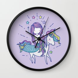Mermaid Riding Unicorn Purple Wall Clock