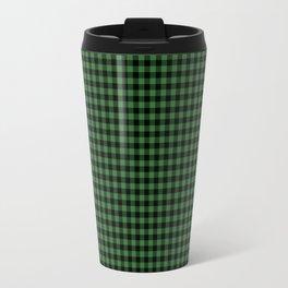 Mini Black and Dark Green Cowboy Buffalo Check Travel Mug