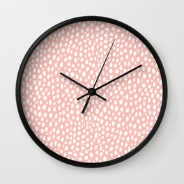 Pink Polka Dot Spots (white/pink) Wall Clock