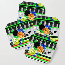 Chintz Rose Orange & Green Coaster
