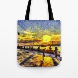 Sunset Fishing Istanbul Van Gogh Tote Bag