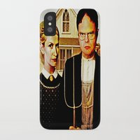 dwight iPhone & iPod Cases featuring Dwight Schrute & Angela Martin (The Office: American Gothic) by Silvio Ledbetter