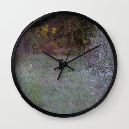 Autumn Black Cat Yellow Eyes Wall Clock