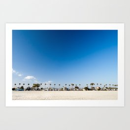 Beach front homes along the sand at Belmont Shore, CA Art Print