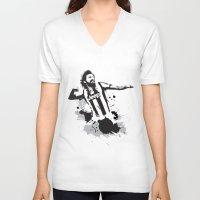 pirlo V-neck T-shirts featuring Andrea Pirlo by Søren Schrøder