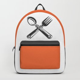 Dining set - a spoon and a fork. Lover to eat. Hungry. Glutton. Heavy eater. Eat. Food. Backpack