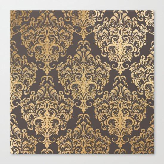 Gold swirls damask #7 Canvas Print