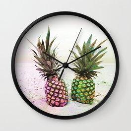 Neon Pineapples Beach Wall Clock
