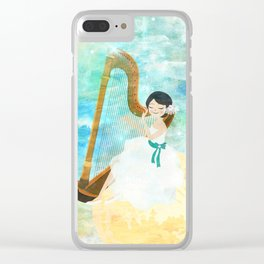 Harp girl: Music from the moon Clear iPhone Case