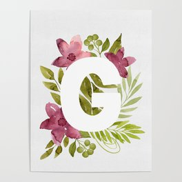Monogram G with red waercolor flowers and green leaves. Floral letter G. Botanical illustration. Poster