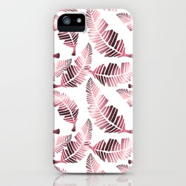 Modern mauve pink tropical summer leaves pattern iPhone Case