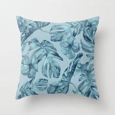 Hawaiian Teal Sea Island Leaves + Flowers Throw Pillow