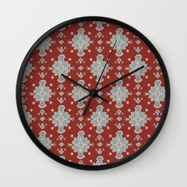 Cromwell Carpet Persian Rig Pattern Deep Red Wall Clock