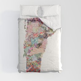 Vermont map Portrait Comforters