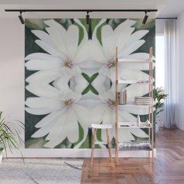 Art Nouveau White Flower Wall Mural