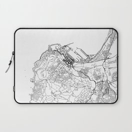 Cape Town City Map South Africa White and Black Laptop Sleeve