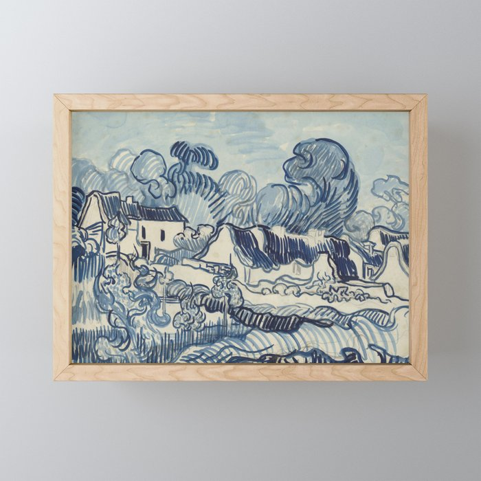Landscape with Houses Framed Mini Art Print