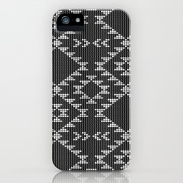 Southwestern textured navajo pattern in black & white iPhone Case