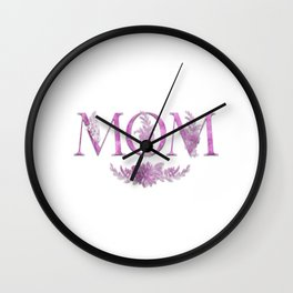 MOM Flower Monogram Pink Wall Clock