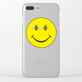 Bee happy Clear iPhone Case