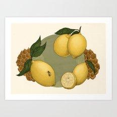Honey, Bees & Lemons Art Print