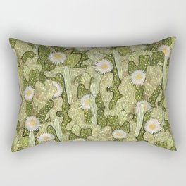 Cacti Camouflage, Blooming Succulents,  Floral Pattern, Khaki Olive Rectangular Pillow