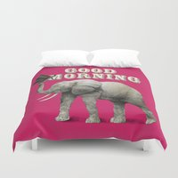 good morning Duvet Covers featuring Good Morning by Eric Fan