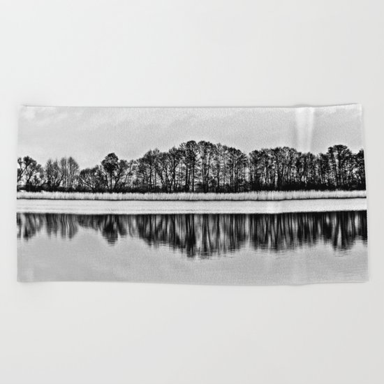 White Symphony of Winter Lake Beach Towel