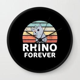 Kawaii Baby Rhino Cute Rhinoceros Gift Wall Clock